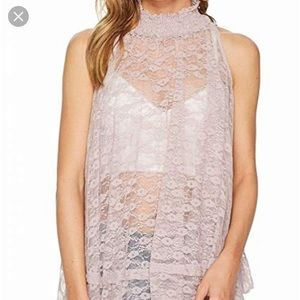 New with tags free people Myrna lace tunic mauve m